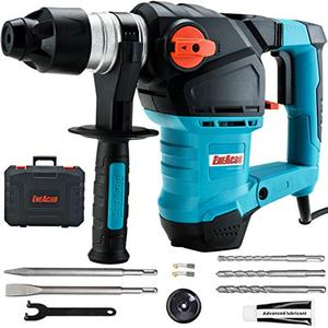 ENEACRO 1 14 Inch SDS Plus 12.5 Amp Heavy Duty Rotary Hammer Drill, Safety Clutch 3 Functions with Vibration Control Including Grease, Chisels and Drill Bits with Case