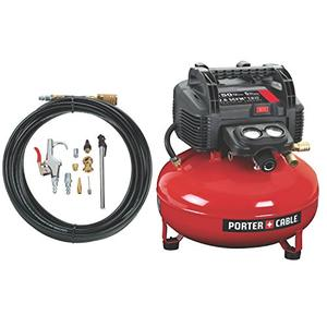 PORTER CABLE Compressor, Oil Free, UMC Pancake, 13 Piece Accessory Kit, 6 Gallon, 150 PSI (C2002 WK)
